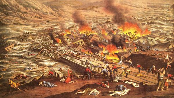 Colored lithograph of the Johnstown flood from 1890.