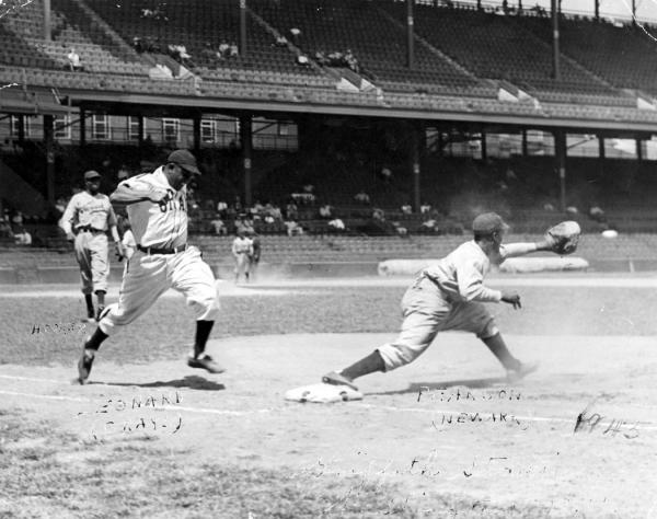 Buck Leonard is tagged out during a 1937 game between the Philadelphia Stars and the Homestead Grays.