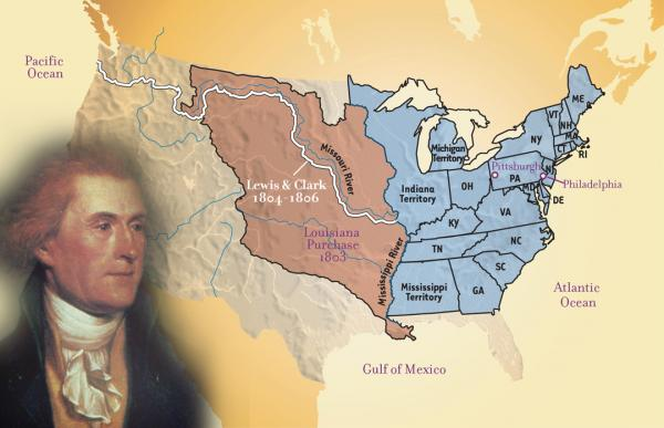 Map of the area of the U.S. procured with the Louisiana Purchase by Rembrandt Peale, and an inset portrait of Thomas Jefferson.