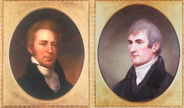 Portrait paintings of Lewis and Clark. Left: William Clark by Charles Willson Peale, from life, 1807-1808; Right: Meriwether Lewis by Charles Willson Peale, from life, 1807.