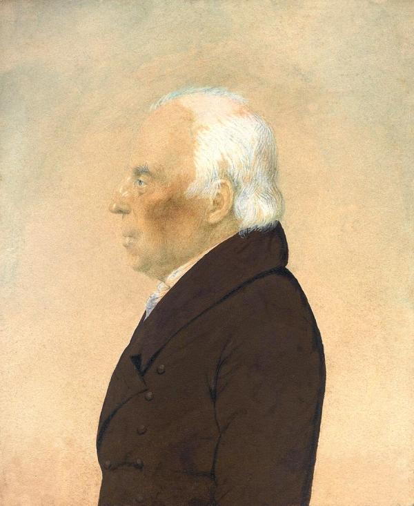 A watercolor portrait of Robert Patterson