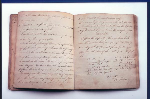 Page from Meriwether Lewis Astronomy Notebook, c. 1803-1805