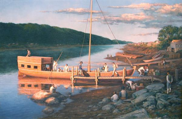 Painting by Robert Griffing of Lewis and Clark's keelboat being loaded for the expedition.