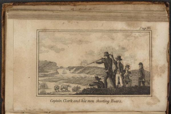 Illustration of five men consisting of Captain Clark and his men shooting at three bears. One bear has been shot and lies on the ground.