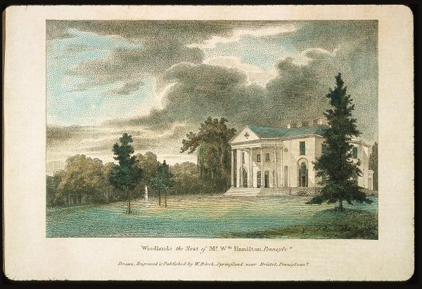 Watercolor of the Woodlands Inscribed: The Seat of Me. Wm. Hamilton, Pennsylvania. Dark clouds hover over a white pillared home. Arched windows and doors and white steps leading up to the home. A cluster of trees are to the left, with a white statue between three of them, with two on one side and one on the other. A large pine tree is in the right foreground.