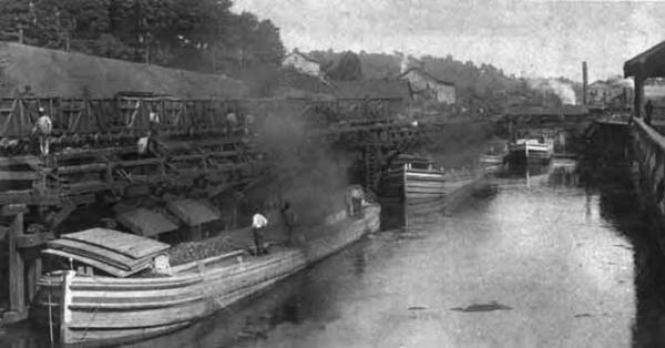 Railroad cars unload their cargo of anthracite into canal boats at the canal basin in Honesdale.
