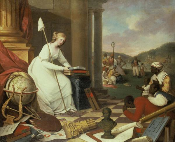 This painting depicts Lady Liberty and newly freed 
