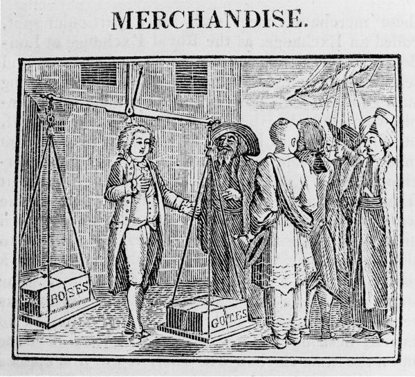 In this trade image, the presence of the Asian, Muslim, and Latin American traders indicate the global commerce in which18th century Americans were involved.