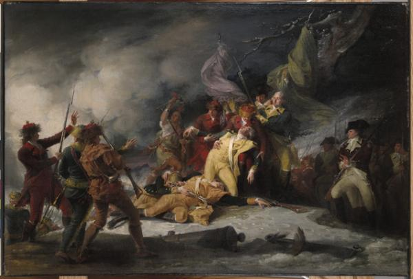 In 1786 painter John Trumbull memorialized the unsuccessful but heroic American invasion of Canada in <i>The Death of General Montgomery at the Attack on Quebec, December 31, 1775</i>.  On the right side of the canvas, Colonel William Thompson, dressed in the brown coat of his Pennsylvania riflemen, gazes at the dying Montgomery.