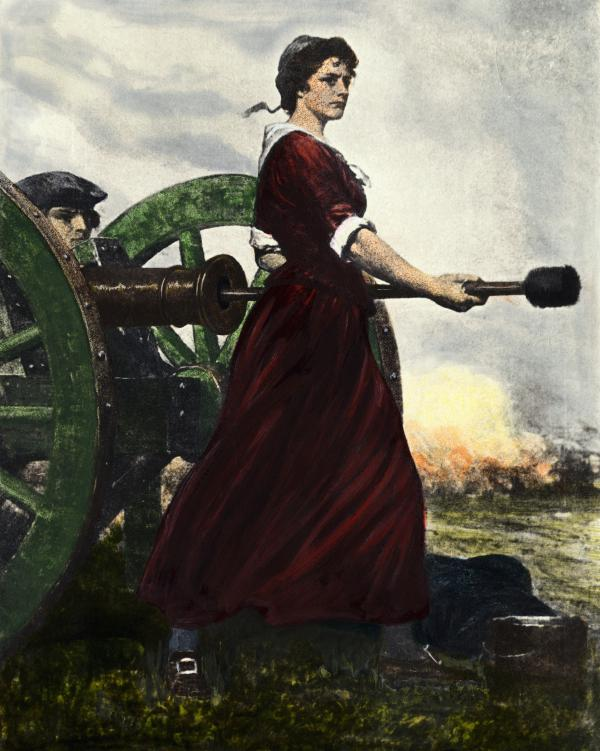 Molly Pitcher wears a burgundy velvet dress with white trim as she stands courageously loading the cannon for battle.