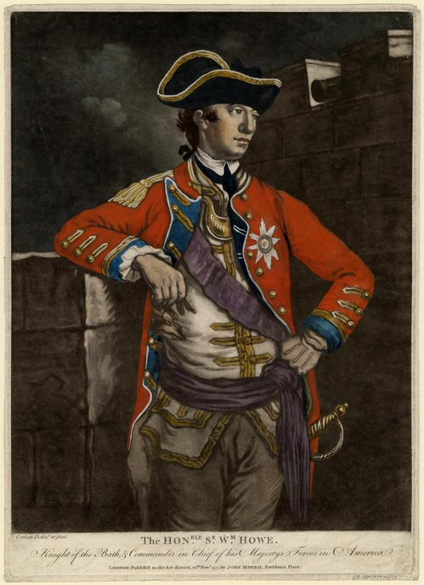 Formal portrait of Sir William Howe, by C. Corbett, in formal military dress.