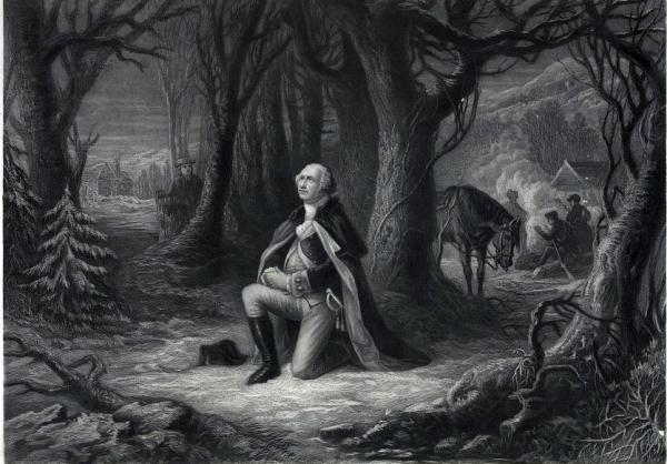 George Washington praying under trees; military camp in background.