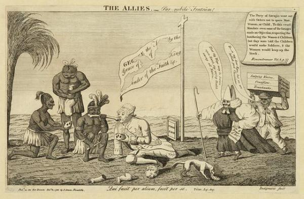 <i>The Allies</i> political cartoon depicting George III sharing a bone with a Native. He is using the top of a skull as a bowl.
