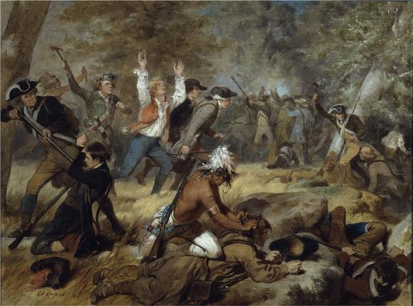 Oil on canvas painting of a battle scene between Native Americans and soldiers