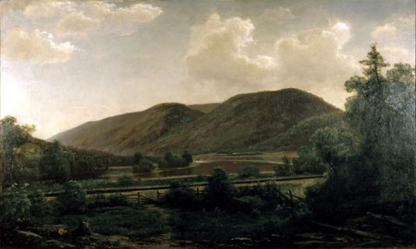 A dark view of Pennsylvania landscape. Mountains, the valley, and the river are visible.