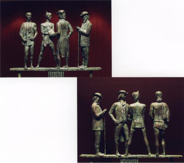 Bronze sculptures of Indians and Quakers.