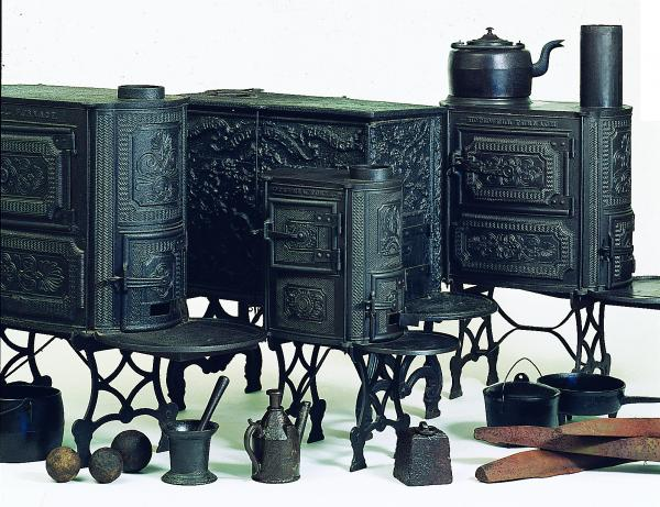 Color image of finished products: stoves, irons, tea kettles