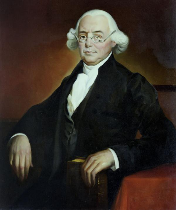 Oil on canvas portrait of James Wilson. Wilson is in formally dressed and seated. He has a receding hairline, gray hair, and is wearing spectacles.