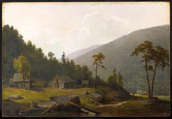 Oil on canvas depicting a rural, scene. A small house with a brick chimney sits in the center of the scene, with two out buildings on either side. The mountain can be seen in the distant right.