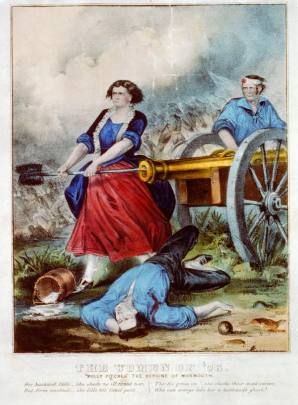 In this image Molly Pitcher loads the cannon while wearing leggings, red skirt, and what appears to be a blue velvet coat with ruffles around the edge. Her hair is tussled. A wounded soldier stands behind the cannon and her dead husband lies dead and bleeding on the ground.
