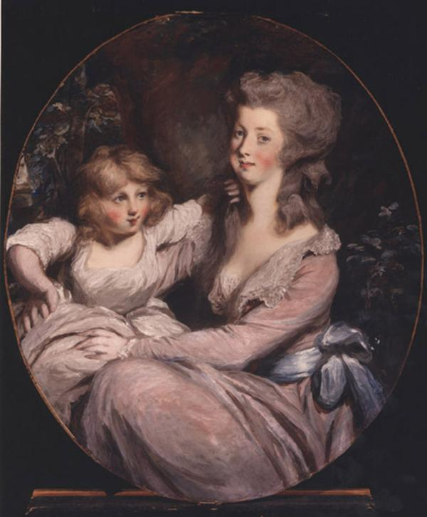 Oil on canvas of Mrs. Benedict Arnold wearing a low cut pink dress and sporting rosy red cheeks, with her daughter in a pale pink dress, sitting beside her.