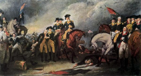 An oil on canvas of the <i>Surrender of Hessian troops to Washington</i>, depicting the surrender of the mortally wounded Hessian commander Johann Rall, to Washington, on horseback, who offers his hand in assistance.