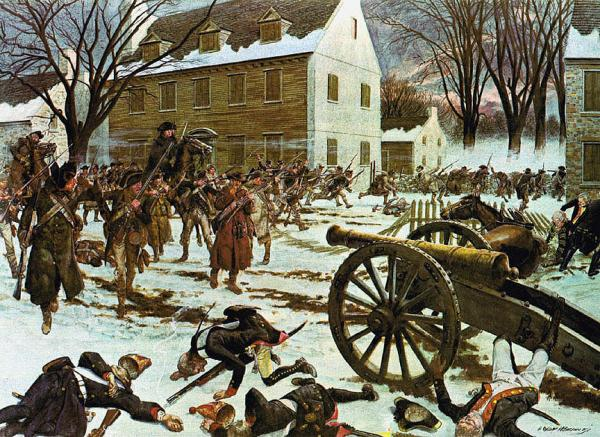 A battle scene on a colonial street, showing the American army advancing on the retreating Hessian forces.