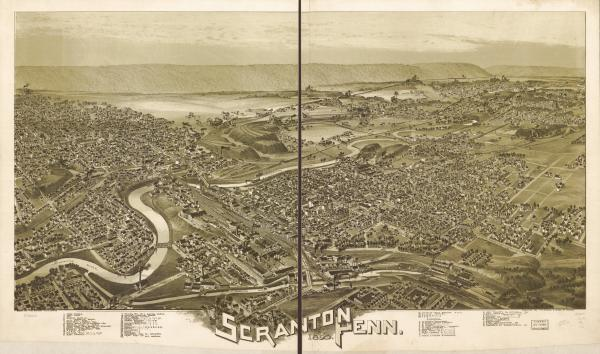 A bird's eye view of Scranton, Pennsylvania, during the 1890s. Scranton is the Lackawanna county seat and was the center of much of the activity in the anthracite trade during its heyday.