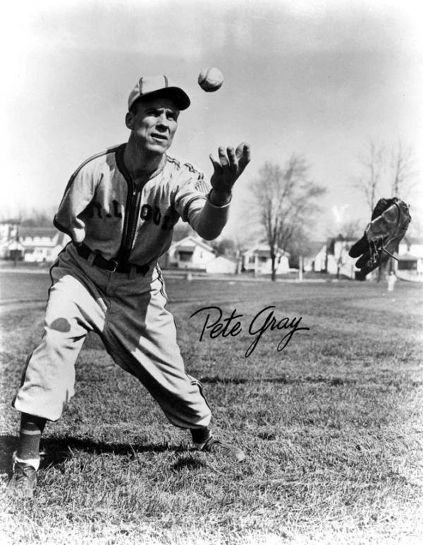 One handed baseball player Pete Gray poses for a promotional photo.