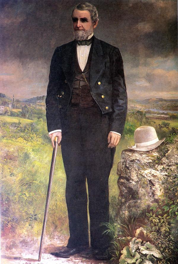 Full length, formal, oil on canvas portrait of Asa Packer, by DeWitt Clinton Boutelle, 1873.