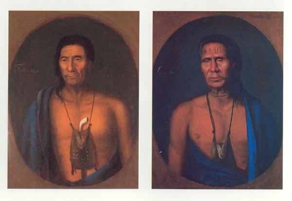 Two head and shoulders color portraits of bare-chested Indian chiefs.