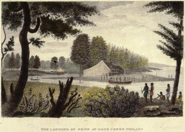 An etching with watercolor of a boat full of European men landing at a riverside cottage. Watching from the opposite bank is a group of Native Americans.