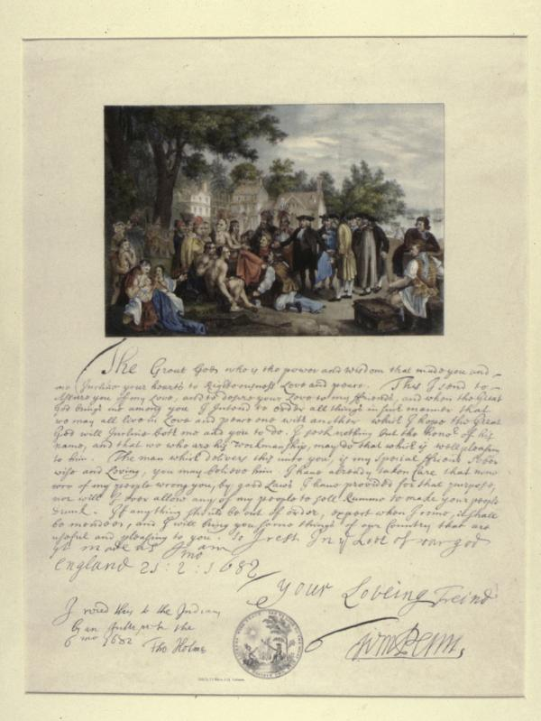 A handwritten letter by William Penn, with an image of the famous treaty scene.