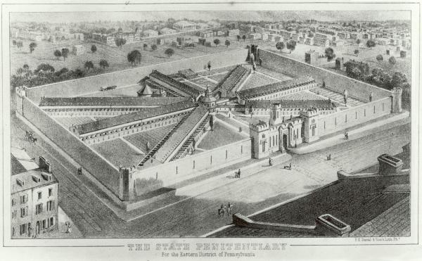 An etching of a large prison complex, with seven long prison blocks radiating from the central rotunda building. The entire complex is surrounded by a high stone wall.