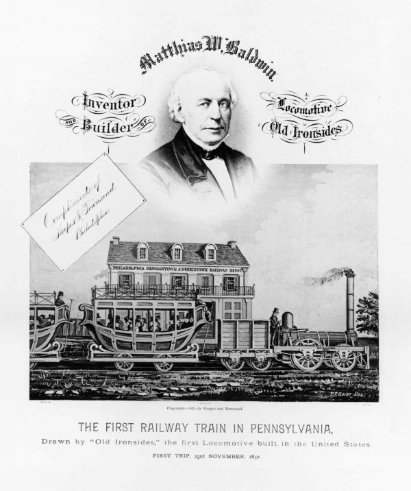 Mathias W. Baldwin's image is inserted above the engraving of Philadelphia, Germantown, and Norristown Railroad Depot engraving to create a Baldwin poster