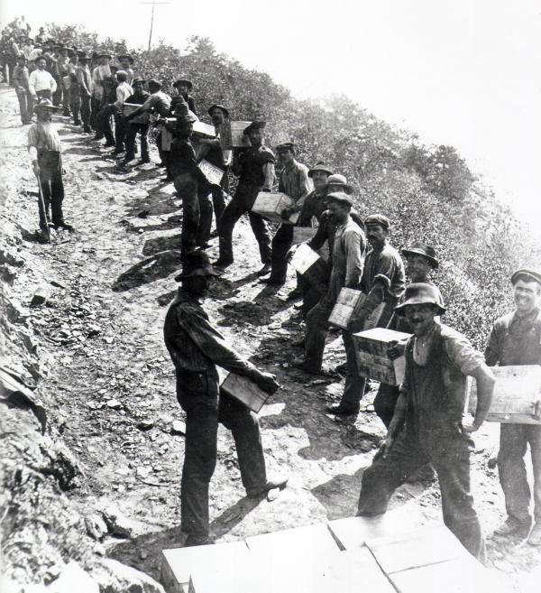 The work crew passing dynamite for the Atglen and Susquehanna Branch of the PRR.  Soon after this picture was taken, an accidental explosion took the life of one of these workers.
