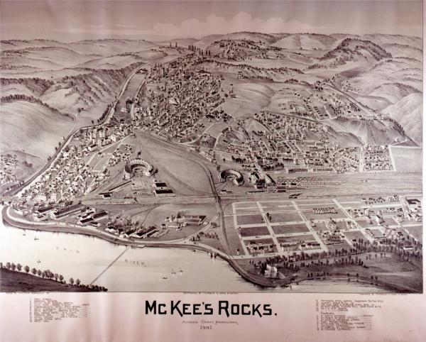 Lithograph of McKees Rock plant, 1901.