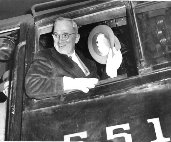 Truman in cab of PRR locomotive