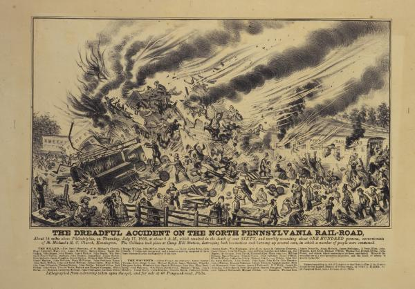 1856 Train crash litho (with people flying in air) The Dreadful Accident of the North Pennsylvania Railroad