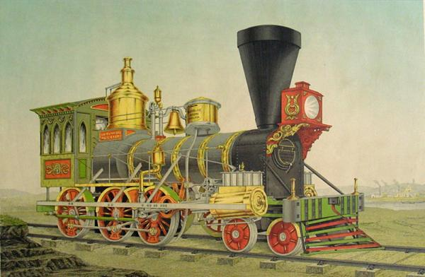 A brightly colored green, yellow, and red Norris locomotive