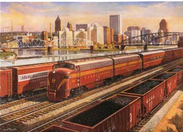 Grif Teller painting  Pittsburgh Promotes Progress, features red locomotives and coal cars.