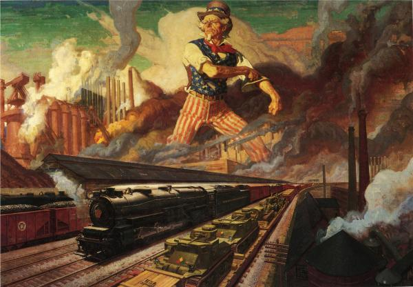 Serving the Nation, by Dean Cornwell.  PRR  calendar image of Uncle Sam.