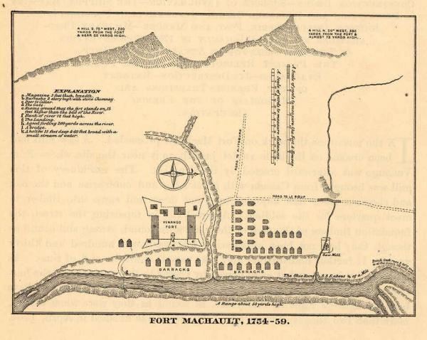 The defeat of Washington's forces at Fort Necessity allowed the French to continue fortifying the area. This plan shows the design of the French outpost of Fort Machault.