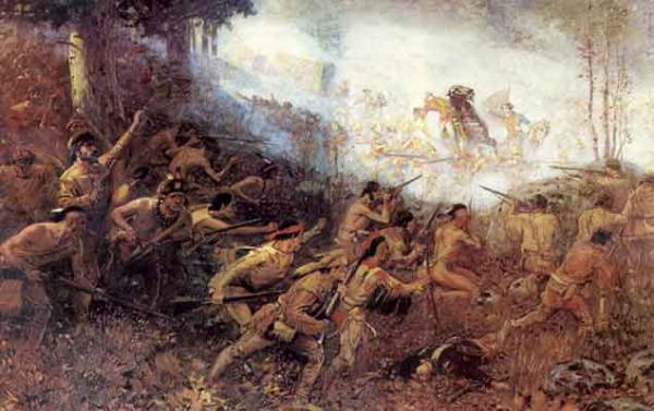 French and Indian fighters decimated Braddock's forces in an ambush attack. Braddock himself was mortally wounded and died several days later.
