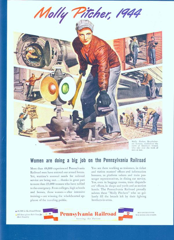 Pennsylvania Railroad 1944 Molly Pitcher poster. Molly is dressed in jeans and a red shirt as she works on the rails.