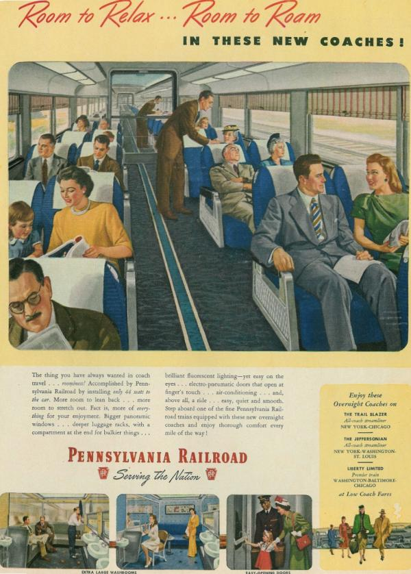 Colorful post-World War II advertisement shows people enjoying a ride on the spacious new coach on the Pennsylvania Railroad.