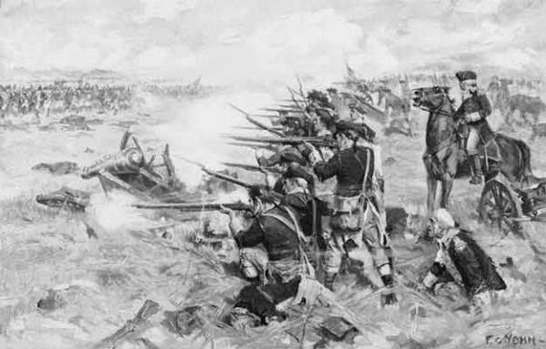 Washington directing his troops at the Battle of Brandywine.