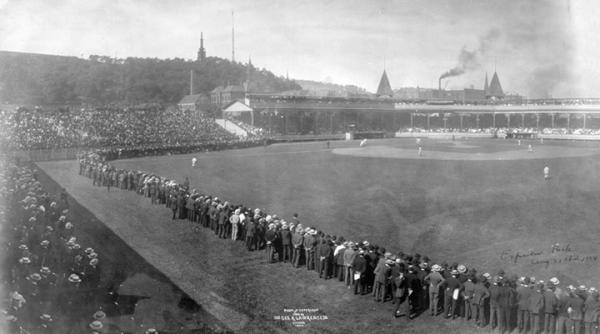 A photo of Exposition Park, in Pittsburgh, 1904.