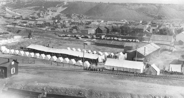 Image of tents and soldiers