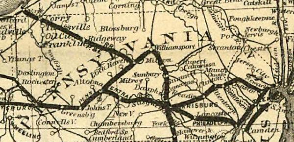 Map of Pennsylvania Railroad system in the 1870s